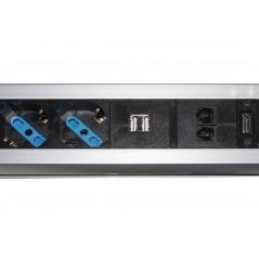 MULTIPRESA A SCOMPARSA CON 2 PORTE ALIMENTAZIONE ITA/SCHUKO, 2 PORTE USB + 1 RJ45 + 1 RJ11 + 1 HDMI FEMMINA