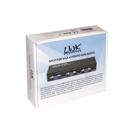 SPLITTER VGA 4 PORTE AMPLIFICATO 500 MZH CON AUDIO
