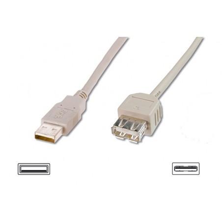 CAVO PROLUNGA USB 2.0 CONNETTORI 1XA FEMMINA -1XA MASCHIO MT. 0,80 GRIGIO