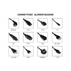 CAVO ALIMENTAZIONE CONNETTORI C14 MASCHIO C15 FEMMINA MT 1