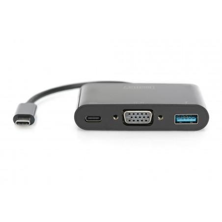 """ADATTATORE USB TIPO """"C"""" MULTIPORTA CON PORTE VGA, USB 3.0 E TIPO """"C"""" FEMMINA"""