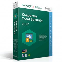 KASPERSKY TOTAL SECURITY 2017 EDIZIONE ITALIANA 1 UTENTE  ANNO SIERRA SLIM BOX