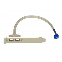 PANNELLO SLOT CON 2 CONNETTORI ESTERNI USB 2,0 TIPO A, FEMMINA - CONNETTORE INTERNO ALLA PIASTRA MADRE 2X5 PIN 2,54 MM
