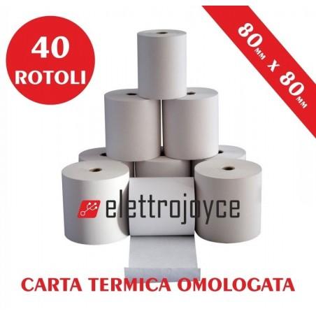 40 ROTOLI DI CARTA TERMICA OMOLOGATA MM 80 X 80 IN ALTA QUALITA' FORO12