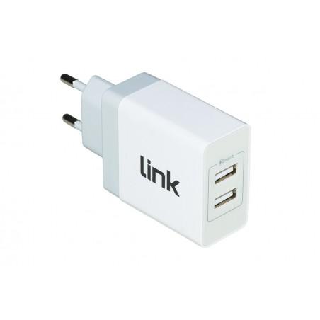CARICABATTERIA 2 PORTE USB DA PRESA MURO 3,4A