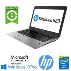 "NOTEBOOK RICONDIZIONATO HP ELITEBOOK 820 G3 CORE I7-6600U 2.6GHZ 8GB 500GB 12.5"" HD LED WINDOWS 10 PROFESSIONAL"