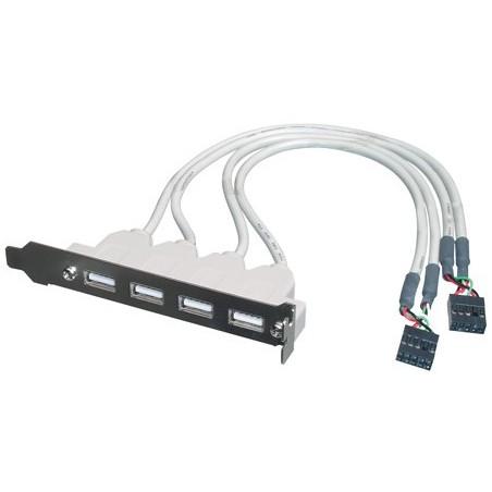 """PIASTRINA CON 4 CONNETTORI USB 2.0 TIPO """"A"""" ESTERNI - CONNETTORE ALLA PIASTRA MADRE 2X10 PIN 2,54 MM."""