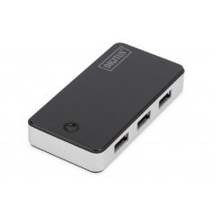 HUB 4 PORTE USB 3.0 CON ALIMENTATORE COLORE NERO