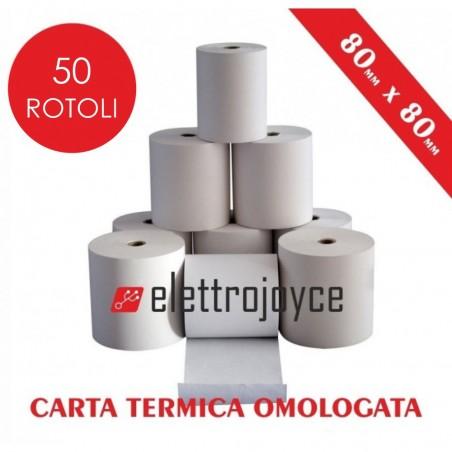 50 ROTOLI DI CARTA TERMICA OMOLOGATA MM 80 X 80 IN ALTA QUALITA' FORO12