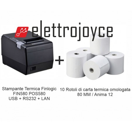 STAMPANTE TERMICA POS FIN580 + 10 ROTOLI DI CARTA TERMICA 80 MM