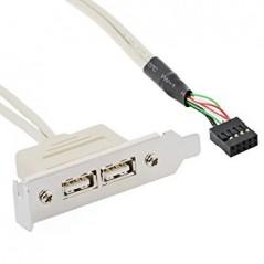 PANNELLO SLOT LOW PROFILE CON 2 PORTE USB 2.0 TIPO A FEMMINA - CONNETTORE INTERNO 10 POLI